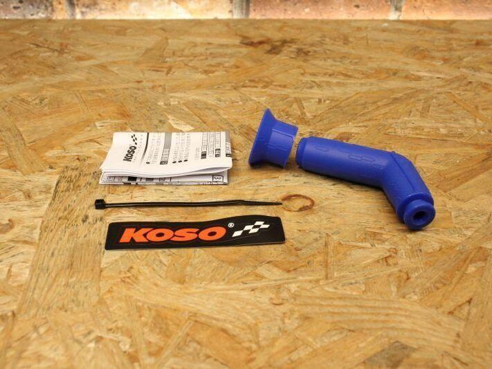 画像1: KOSO 高性能汎用プラグキャップ 60度 抵抗入り10kΩ ブルー [シグナスX・BWS125] (1)